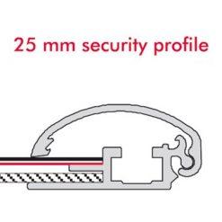 Säkerhetsram, vägg, 25 mm profil.