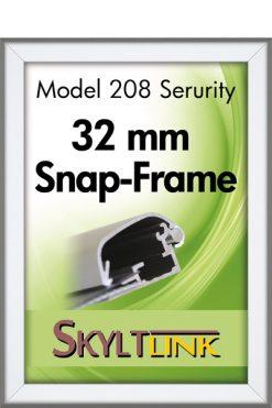 Säkerhetsram, vägg, 32 mm, Silveranodiserad.